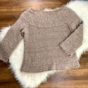 Rachel Roy Fuzzy Ragged Boatneck Sweater Large